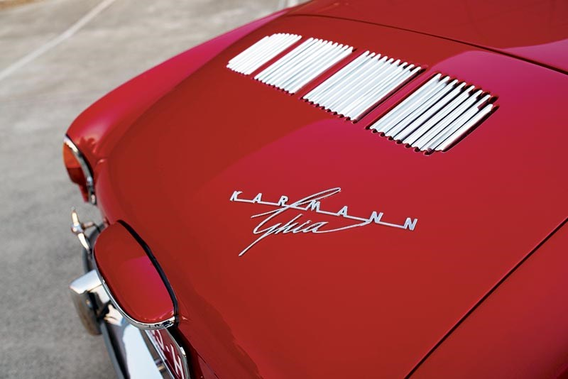 Stylish badge on the 1960 Type 14 Karmann Ghia Coupe