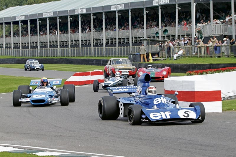 Sir Jackie Stewart in his Tyrrell, followed by Aussie Mark Webber in Jackie's championship Matra
