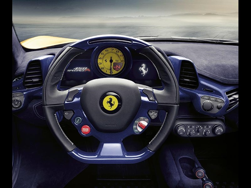 Ferrari 458 Speciale's wheel offers a hint of contemporary motorsport