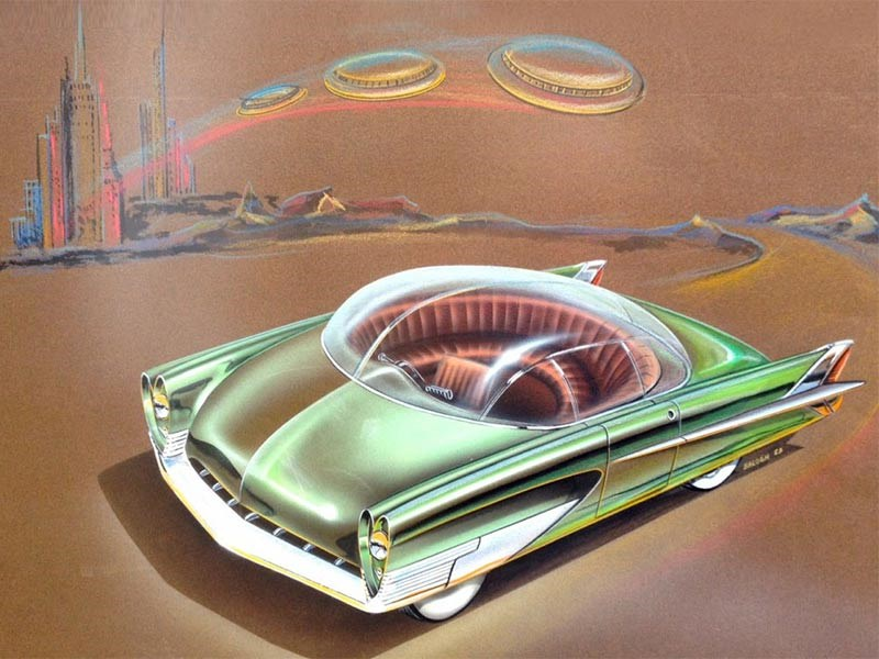 Charles Balogh's 1953 study for Ford. A car with semi-circular round seating that would stimulate conversation