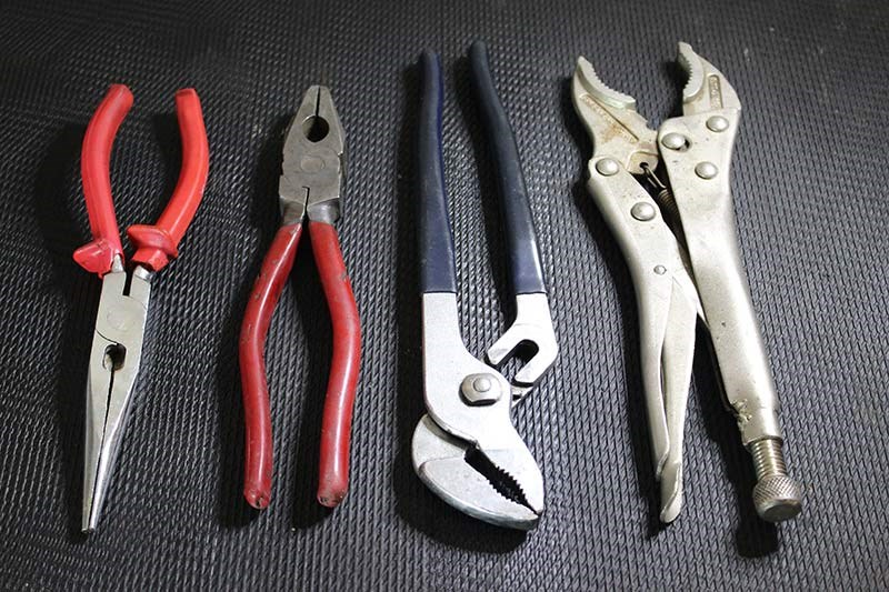 Pliers and multigrips, including a self-locking pair, are essential kit