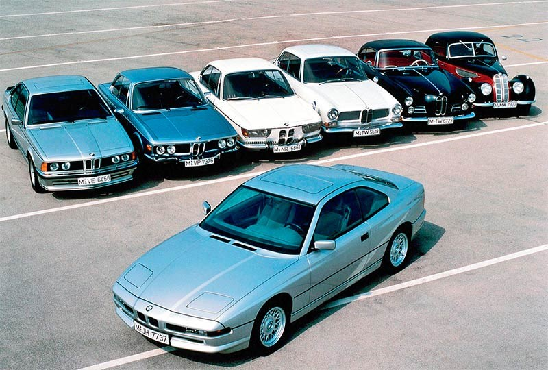 Seven generations of BMW coupes