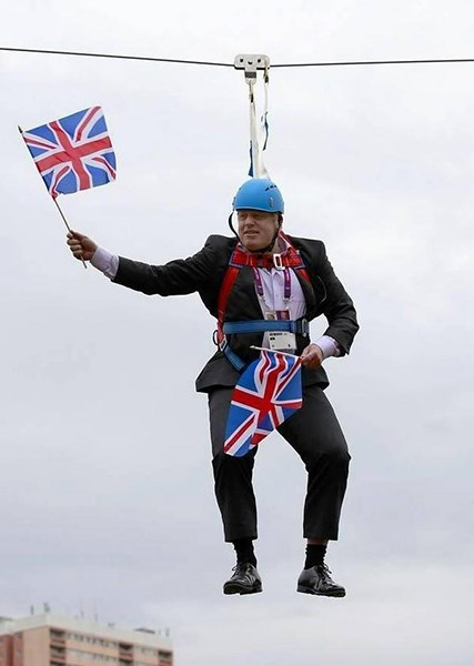 Boris Johnson hanging on Victoria Park zipline