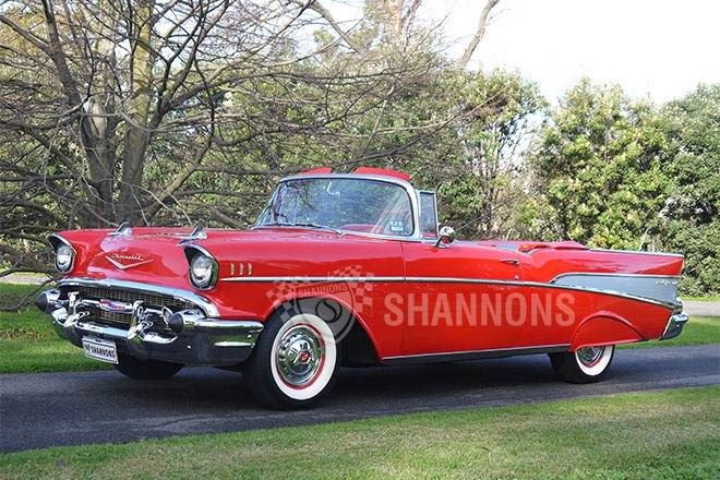 1957 Chevrolet Bel Air Convertible (LHD) – sold $70,000