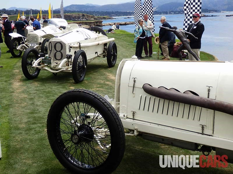 impressive Mercedes team cars from the 1914 French Grand Prix including 4 5 litre winning car of Lautenschlager No 28
