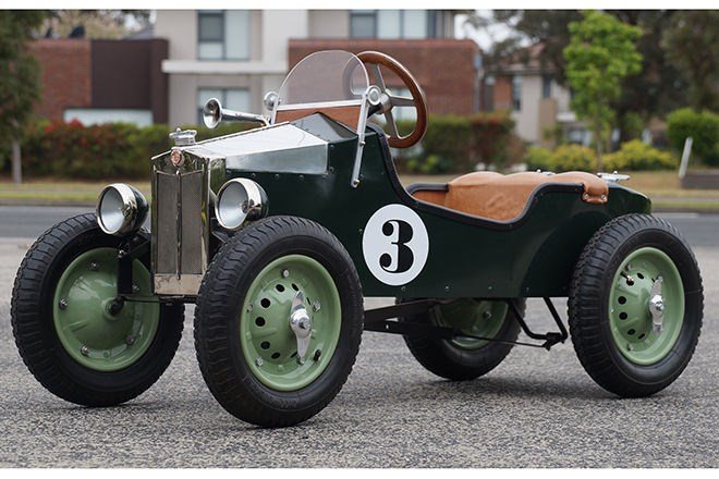 1929 MG M Replica Boat Tail Racer  Pedal Car. SOLD $3400
