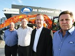 AB Equipment GM sales and marketing manager Rob Fuller, AB Equipment CEO Peter Dudson, Richard M Goldsbury, Theo Valk