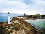 Lighthouse, lagoon, sand dunes, village — Castlepoint is a holidayer's paradise