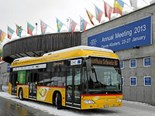 The fuel-cell Postbuses use only environmentally-friendly and sustainably produced hydrogen as a fuel.