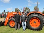 KV Equipment's Matthew Peeler (left) with PFG Australia's Kioti Product Manager Stuart Phillips at the Elmore field days 2013.