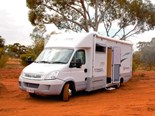 The Paradise Integrity motorhome on red Kalgoorlie country.