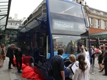 A large crowd gathers at the Metrodecker's London unveiling