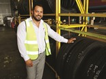 Manager Fleet Services Jason Wilkinson with some of the 70 tyres kept at Molendinar