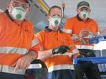 Transdev Melbourne area manager west Shaun Lawson, fleet manager Ian Kerfoot-Davies and manager special projects and service delivery David Nott were part of the painting team.
