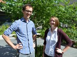 Monash University PhD student Sarah Roberts with public transport research supervisor Robbie Napper