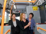 (L-R) Juliana Addison, MP for Wendouree; Victorian Transport Minister The Hon. Melissa Horne; and Michaela Settle, MP for Buninyong, check out inside one of the new Scania-Gemilang buses.