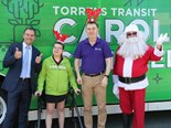 (L-R) Chris Millard, general manager Torrens Transit; Chloe; Greg Ward CEO Novita and 'Santa'.