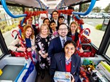 Ros Spence MP, Member for Yuroke, The Hon. Melissa Horne, Victorian Minister for Public Transport and students and staff from Kolbe Catholic College help Santa spread Christmas cheer in Transdev's electric bus as part of MacKillop Family Services' annual Christmas Drive.