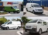 The four contenders (clockwise from top-left): Renault Trafic, Hyundai iLoad, Toyota HiAce, and Ford Transit.