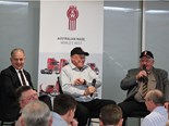 Plenty of laughs: Chris Melham (ATA), Phil Russell (centre) and Peter Wickham on stage.