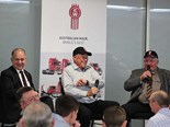 Plenty of laughs: Chris Melham, Phil Russell and Peter Wickham on stage.