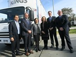 Kings chairman George Savvides, SEA executive chairman Tony Fairweather, state environment and energy minister Lily D'Ambrosio, state Member for Dandenong Gabrielle Williams, SEA MD Glenn Baird and Kings CEO Tony Mellick in front of an EV10 displaying Kings' new livery