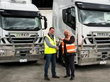 Restar Transport GM Chris Pearc, left, with Iveco Australia GM sales Scott Slater