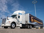 Kenworth/Toyota fuel cell electric truck hauling a UPS trailer