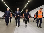The ministerial (L-R: McCormack, Morrison, Berejiklian, Constance) march through the tunnel