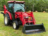 The Branson 6225Ch tractor with the BL25R loader and BH76 backhoe