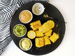 Charred sweetcorn with a trio of toppings