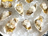 Champagne jelly oysters on pistachio crumb