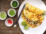 Asian omelette with coconut poached chicken
