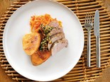 Pork fillet with kumara, almond dressing, and pickle