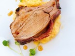 Roasted maple pork rack with parmesan polenta