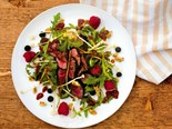 Kawakawa rubbed venison with berry salad
