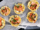 BBQ marinated salmon with apple slaw in parmesan cups
