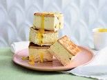 Lime and passionfruit cheesecake sandwiches