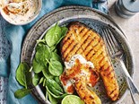 Kerala salmon with lime pickle yogurt