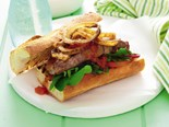 BBQ steak sandwich with honey onions