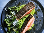 Crispy Salmon with Pea Smash Recipe