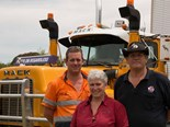 Broadford bound – Jimmy Harris (right) with his wife Susie, son Dustin and 1984 R Model Mack.