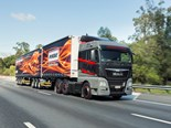 The flaship MAN TGX with its unique colour scheme and on-road presence.