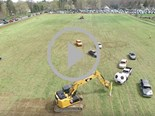 Car soccer with excavator goalies