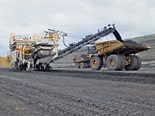 The Wirtgen 4200 SM surface miner in action at the New Acland Mine