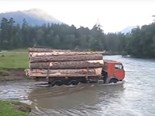Video: Trucks crossing rivers in Russia
