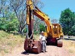 Ron Horner as excited as a kid with the 1968 Kato 750G excavator