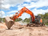 Excavator at roadworks