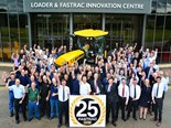 JCB employees celebrate 25 years of Fastrac tractor production.