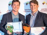 Mark, right, and Rob Trenchard with their awards at the Australian Technologies Competition awards evening